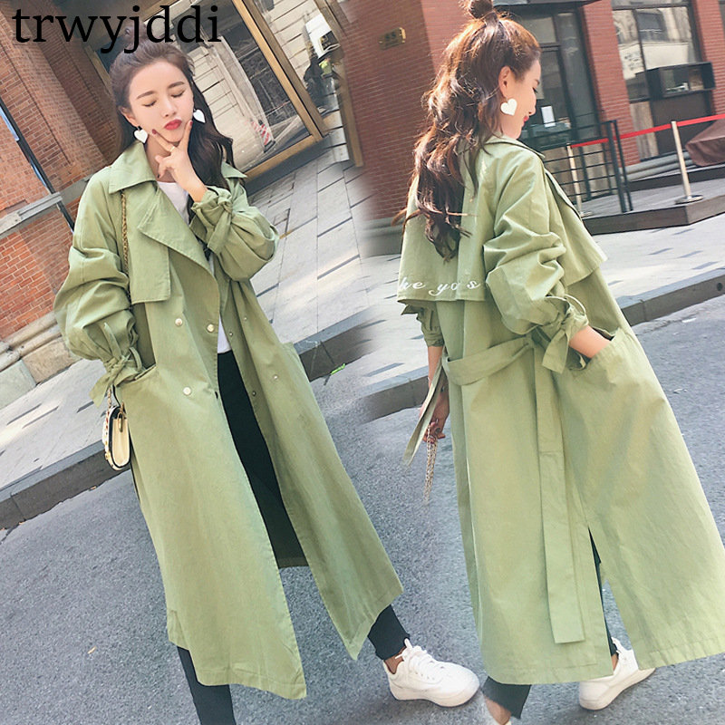 2018 High Quality Spring Autumn New Women   Trench   Coats Long Sleeve Pockets Sashes Buttons Fashion Coat Windbreaker Outwear A802
