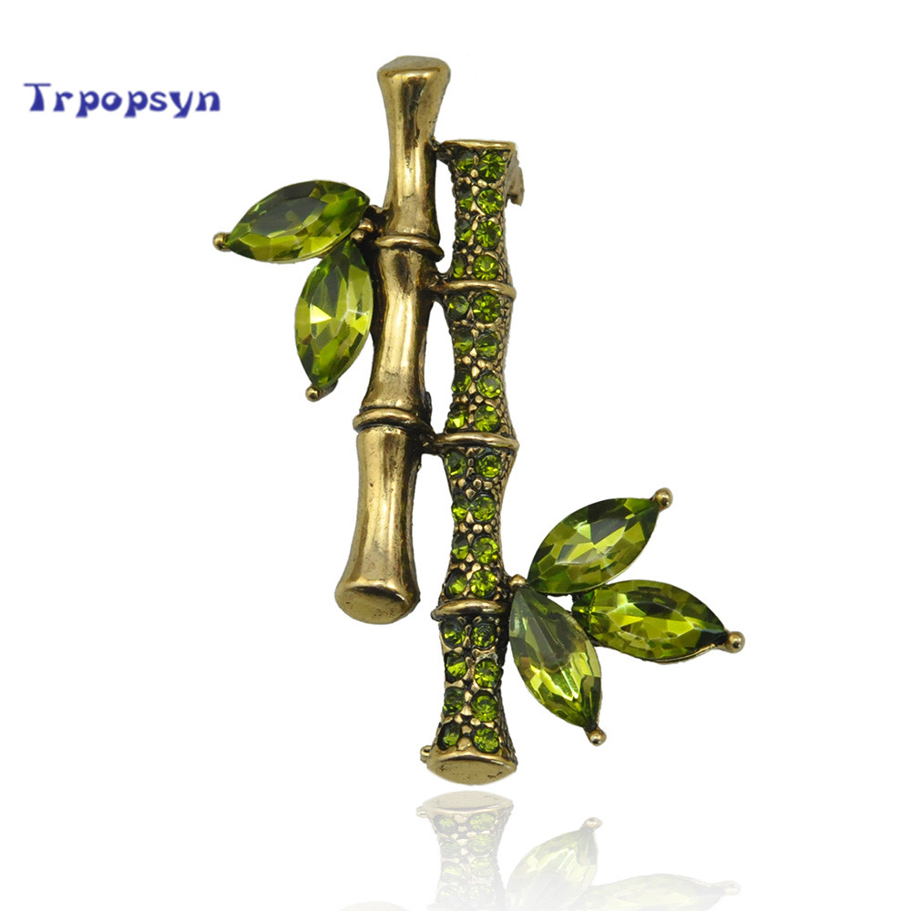Chinese Style For Wedding Engagement Metal Bamboo Zircon Brooch Pin CZ Crystal Rhinestone Plant Shaped Garment