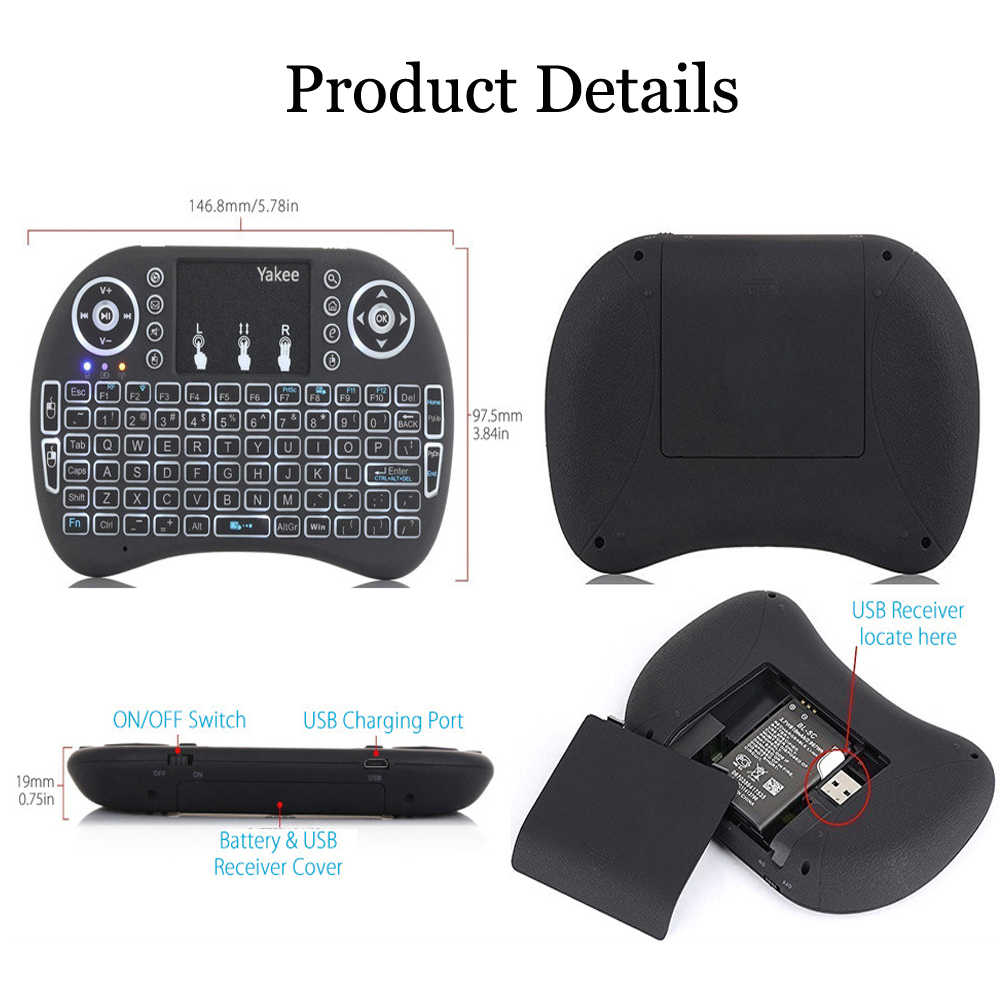 I8 Toetsenbord Backlit 7 Kleuren Engels Russisch Spaans 2.4 Ghz Wireless Keyboard Air Mouse Touchpad Voor Android 9.0 Tv Box t9