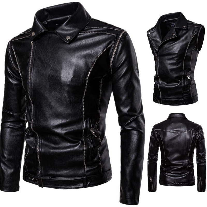 2018 New Men's Locomotive Leather Detachable Sleeves Jackets Casual Men PU Leather Jacket Clothing for Male Motorcycle Autumn-in Jackets from Men's Clothing    1