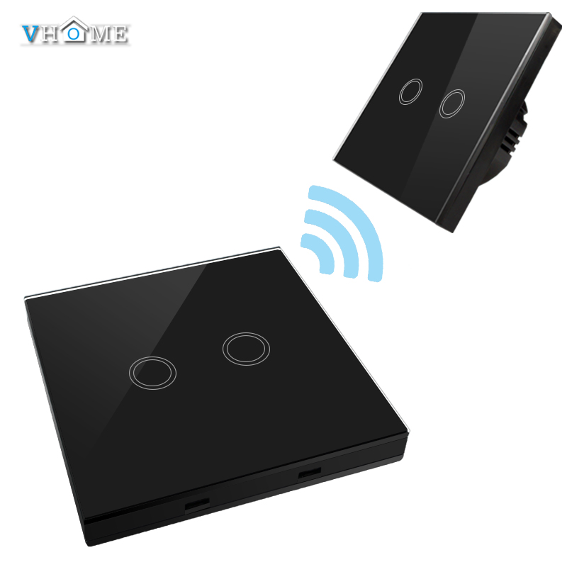 Vhome EU/UK Standrad 433mhz Remote Controller 2 gang 1 way Crystal Penal Glass Touch Lamp Wall Light switch 220V Home Automation vhome eu uk touch switch 3gang wall light ac170 240v wall stickers rf433mhz crystal glass panel remote control transmitter
