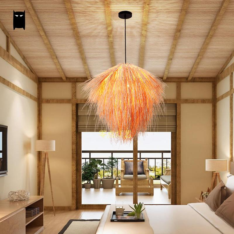 Hand Woven Bamboo Wicker Rattan Straw Pendant Light