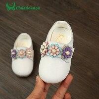 Claladoudou 11 8 13 8CM Baby Girls Shoes White Genuine Leather Flower Princess Shoe Kids Girls