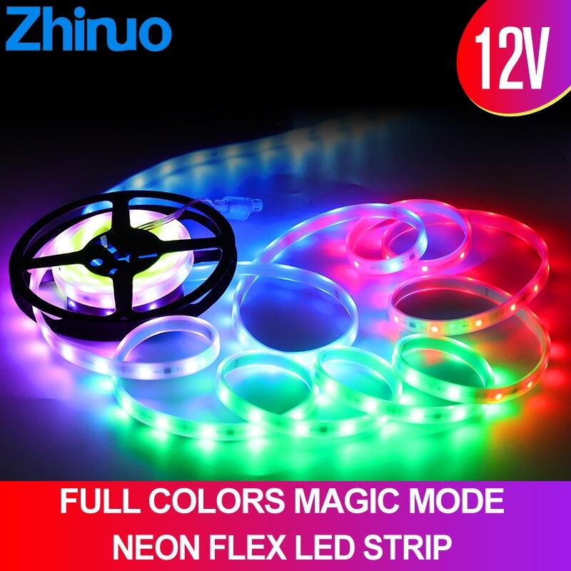 WS2812B LED Strip Neon DC12V PCB Smart Addressable Pixel WS2812 IC 5M/SET Bar Club Multi-color Light Magic Controller RGB Tape