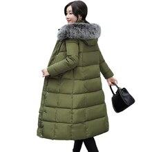 2017 Большие размеры 3XL 4XL меховой воротник casacos de Inverno feminino длинные мягкие женские зимняя куртка COAR теплые женские парка