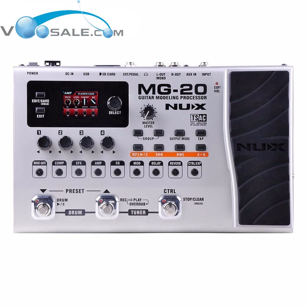 Nux MG-20 Guitar Modeling Processor LCD Digitech Multi Effect Pedal 60 Effector Modules 72 Preset wavelets processor