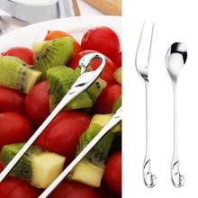 Creative Kitchen Dining Bar Swan Dinnerware Spoons Forks Alloy Silver Coffee Spoon Two Teeth Fruit Dessert Forks Flatware(China)