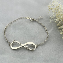 Charming Infinity Sign Decorated Customized Silver Chain Bracelet