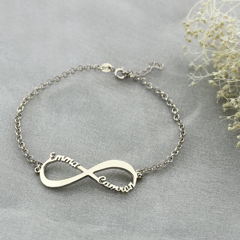 e734e9eaa33f AILIN infinito nombre de la pulsera personalizada pulsera marca símbolo del infinito  nombre de la plata esterlina para las mujeres en Pulseras del filamento ...