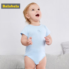 Balabala Baby Boys Bodysuits 100% Cotton Lovely Cartoon Jumpsuits Summer Short Sleeves O-Neck Newborn Bodysuits Climb Clothes(China)