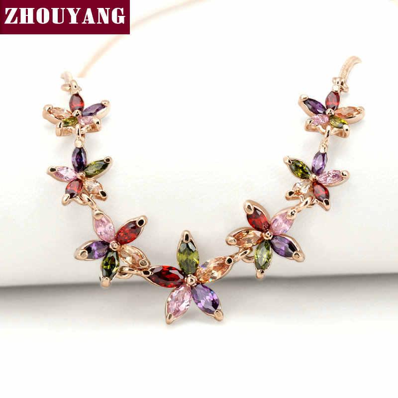 למעלה איכות 7 plum פריחת רוז זהב צבע תליון שרשרת תכשיטים האוסטרי קריסטל ZYN024 ZYN025 ZYN026