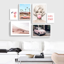 Marilyn Monroe Pink Camper Van Bus Canvas Art Prints Posters Beach Palm Trees Painting Wall Pictures Boho Home Decor