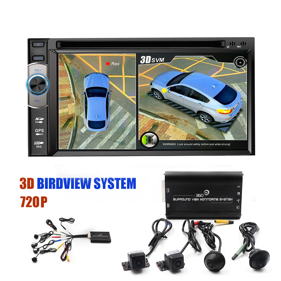 3D 360 Surround View System driving support Bird View Panorama System 4 Car camera 720P DVR G Sensor