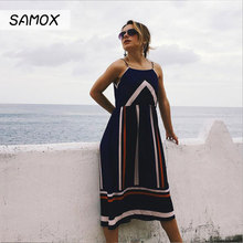 купить JSMY 2019 New Summer Fashion Women Off-the-shoulder Chiffon Sling Contrast Color Stripe Holiday Beach Dress по цене 1074.55 рублей