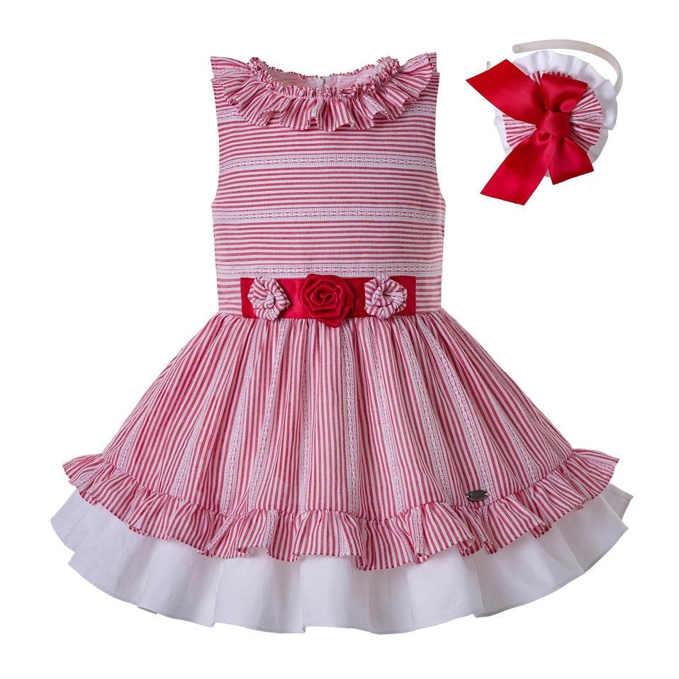 Pettigirl Red Stripe Girls Summer Dress Sleeveless Kids Dresses with Cute Flowers Kids Clothing G DMGD203