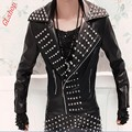 2016 New Fashion Mens Punk Rock Costume Rivets Spike Motorcycle Jacket PU Leather Coats Plus Size MLXL2XL3XL