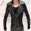 2016 Nueva Moda Para Hombre de Vestuario Punk Rock de Los Remaches de Spike Motocicleta Chaqueta de Cuero de LA PU Abrigos Tallas grandes MLXL2XL3XL