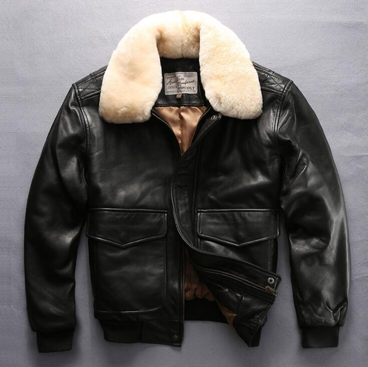 Fly flight renaissance steampunk bomber jacket sheepskin slim fur cloting pilot leather jacket mens male mortorcycle