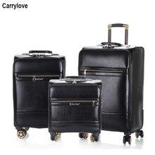 """CARRYLOVE 1"""" 20"""" 2"""" дюймов ретро кожаный багажный набор тележка koffer наборы Дорожный чемодан для поездки"""