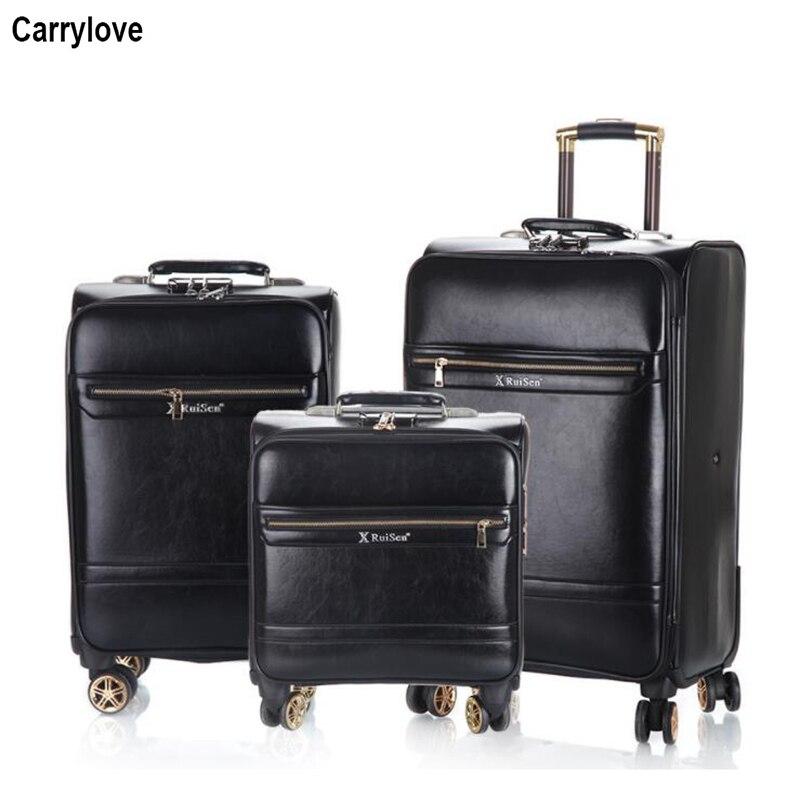 "CARRYLOVE 18 ""20"" 24 ""بوصة الرجعية جلدية الأمتعة مجموعة عربة koffer مجموعات السفر حقيبة لرحلة-في مجموعات الأمتعة من حقائب وأمتعة على  مجموعة 1"