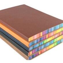 RuiZe, милый корейский блокнот А5, кожаный дневник,, школьная записная книжка, дневник, ежедневная заметка, блокнот в твердом переплете, плотная бумага, Радужный край