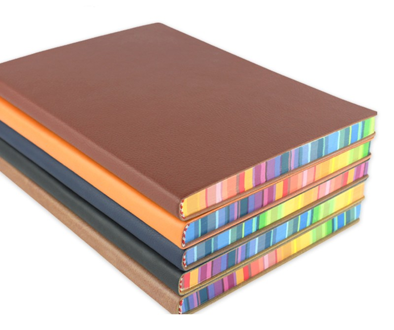 RuiZe cute korean notebook A5 leather diary journal daily memos hardcover notebook thick paper rainbow edge note book stationery
