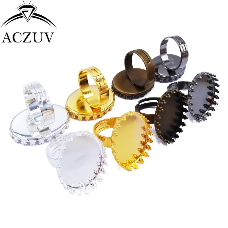 Finger Ring Base with Transparent Glass Cabochon for Ring Making UNICRAFTALE 30 Sets Adjustable Ring Making 12mm Tray Flat Round Cabochon Rings Settings
