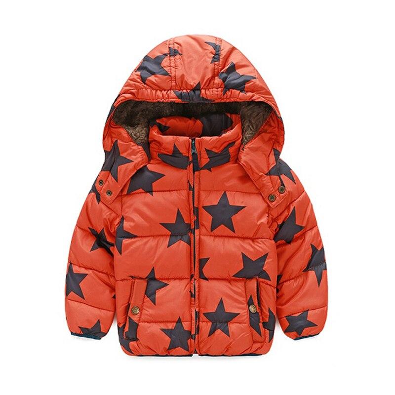 Winter Coat Boys Puffer Jackets Child Zipper 3-8 yrs Star Patten Warm Coats Turtleneck Fur Jackets Hood Kids Clothes Outwears