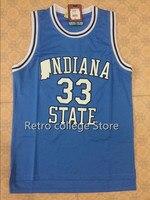 Indiana State Sycamores LARRY BIRD #33 VALLE LICEO Retro Ritorno Al Passato BasketballJERSEY Nero bianco Personalizzare qualsiasi numero size