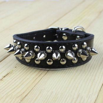 10pcs/lot Punk Style Spiked Pet Dog Collar Round Bullet Nail Rivet Studded Collar Neck Strap Pitbull Collar PU Leather Pet roduc
