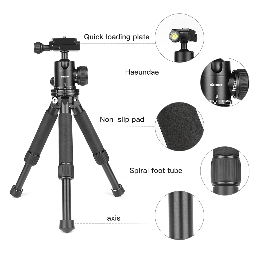 Without Ball Head Mini Tripod Stand Holder Mount for Canon 1300D Nikon D3400 D5300 Sony X3000 A6000 DSLR Camera Camcorder Tripod Accessories.