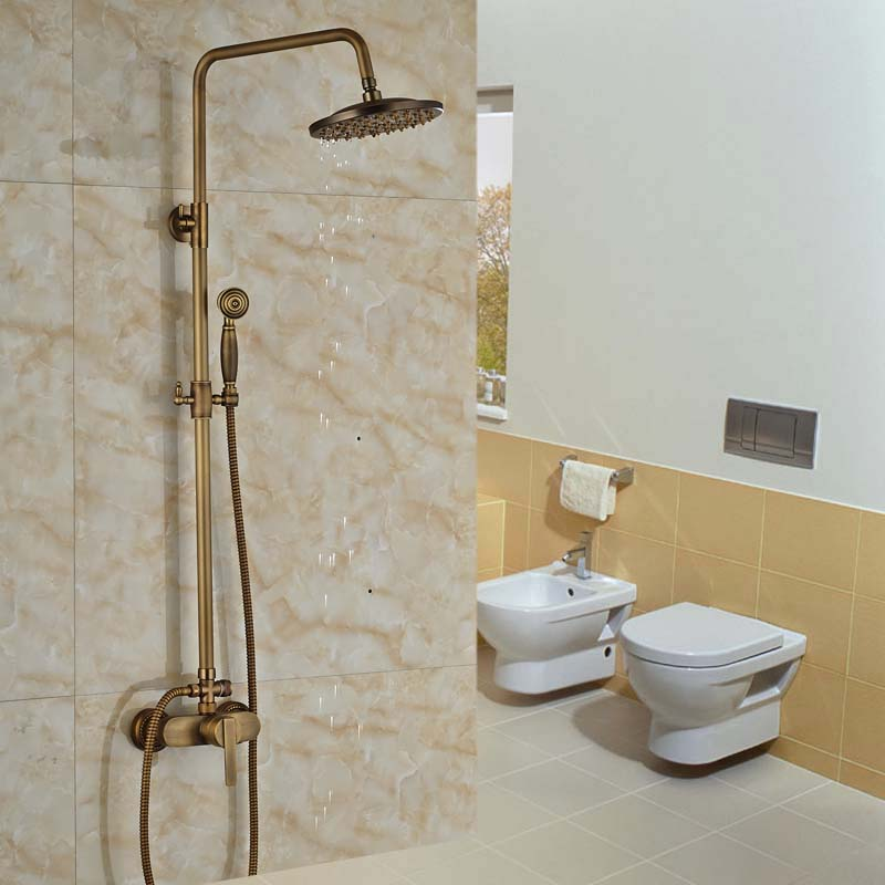 Luxury NEW Antique Brass Rainfall Shower Set Faucet Bathroom Mixer Tap + Handheld Shower Wall Mounted  luxury bathroom rain shower faucet set antique brass handheld shower head two ceramics lever bathtub mixer tap ars003