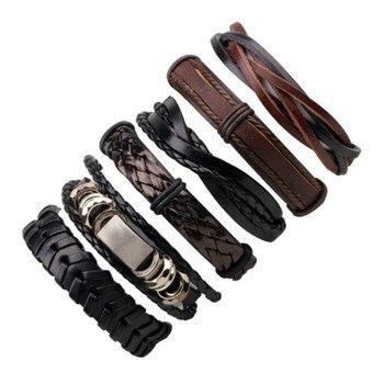 MKENDN Leather Bracelet Multilayer Punk Skull Star Charm Wrap Hand Bracelets 1