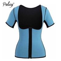 Palicy Neoprene Vest Body Shaper Waist Trainer Underwear Sweat Girdle with Zipper Two Size Wearable Shapewear Tops