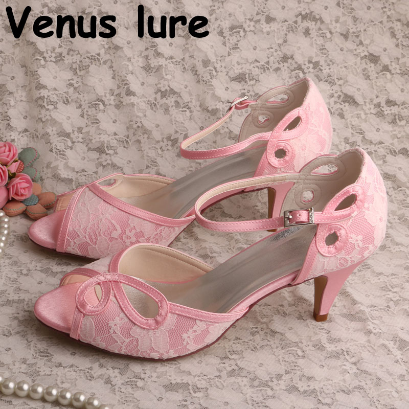 Cut out Pink Satin Ivory Lace Wedding Peep Toe Kitten Heel Bridal Shoes Mary Jane