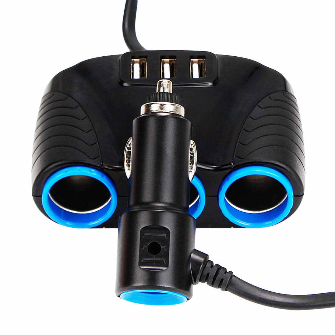 3 USB ميناء 3 الطريق 3.1A الأزرق Led سيارة ولاعة السجائر المقبس الفاصل Hub محول الطاقة 12 V-24 V ل باد الهاتف الذكي نظام GPS مزود بمسجل فيديو رقمي
