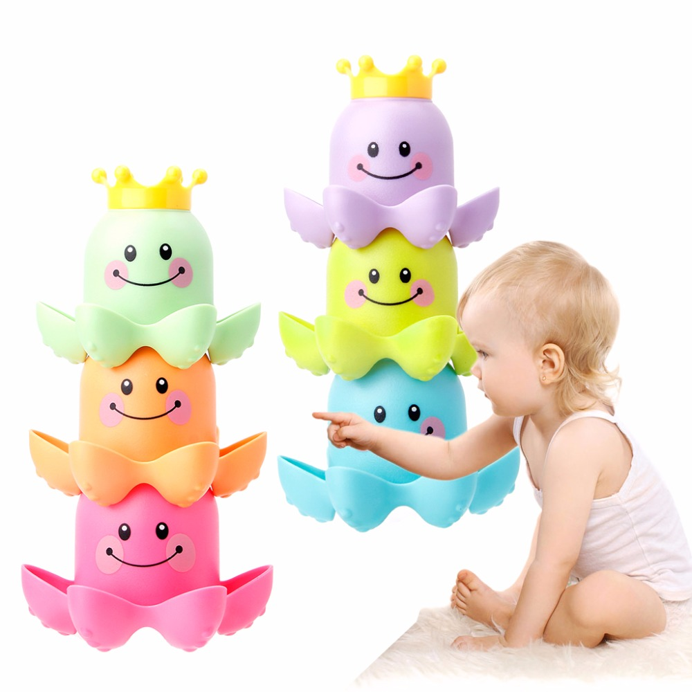 HBB 3Pcs Octopus Shape Cup Bath Toy Soft Stacking Baby Toys Kids Toy Play Water Pool