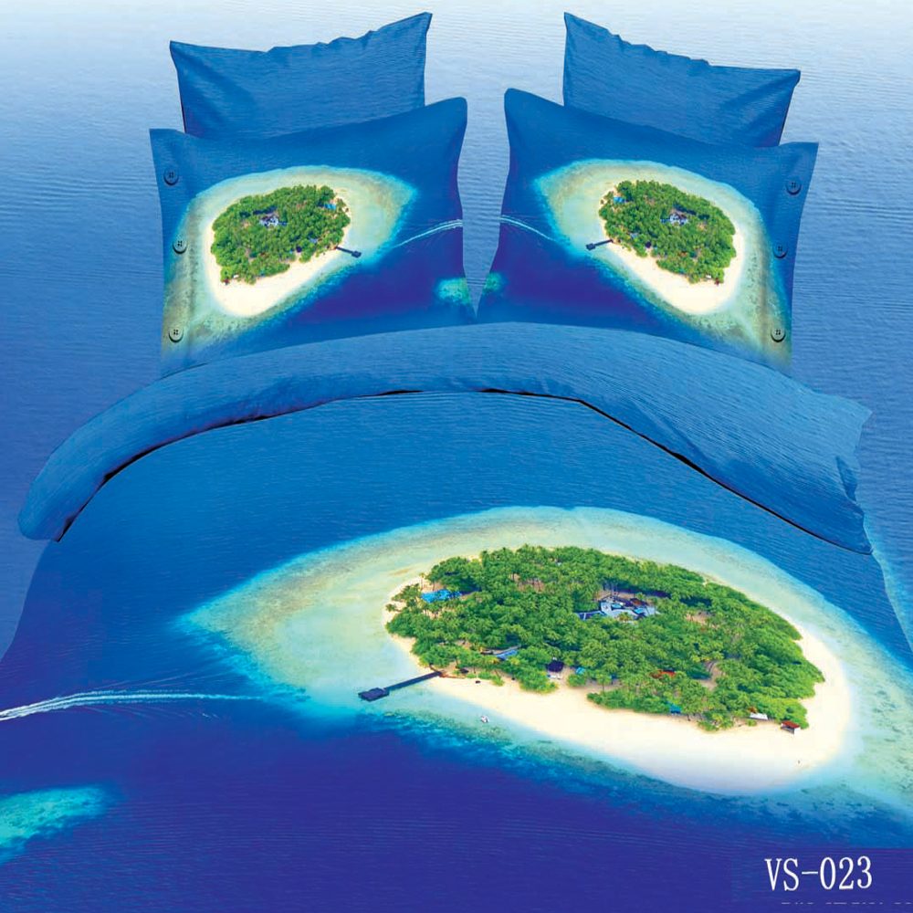 <font><b>3</b></font> Piece Set Soft 3d Print Blue Ocean <font><b>Bay</b></font> and Palm Tree Island Bedding Sets(1pc Duvet Cover+2pc Pillowcase) Various Sizes image