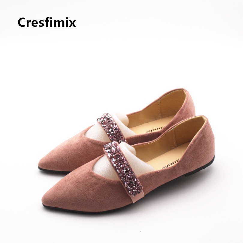 Cresfimix women casual spring comfortable flat shoes woman pointed toe pink flock shoes lady fashion & sexy party shoes zapatos new 2017 spring summer women shoes pointed toe high quality brand fashion womens flats ladies plus size 41 sweet flock t179