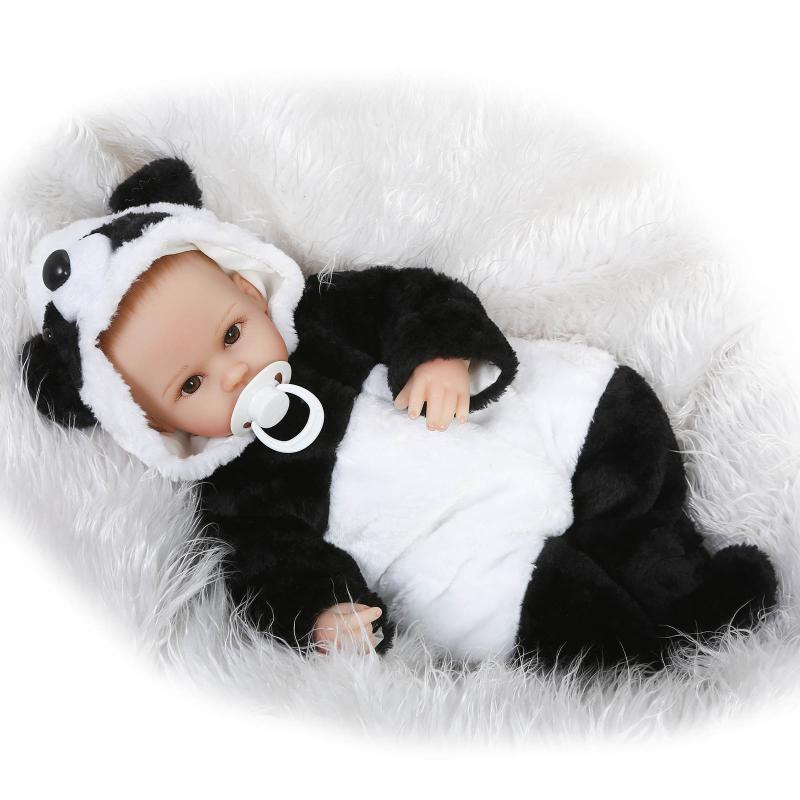 Nicery 16-18inch 40-45cm Bebe Doll Reborn Soft Silicone Boy Girl Toy Reborn Baby Doll Gift for Children Black White Panda Baby nicery 18inch 45cm reborn baby doll magnetic mouth soft silicone lifelike girl toy gift for children christmas pink hat close