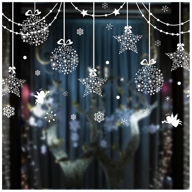 Charm Pendants Wall Sticker Creative DIY Christmas Home Decor Decals for Living Room Market Shop Window Decoration(Christmas)
