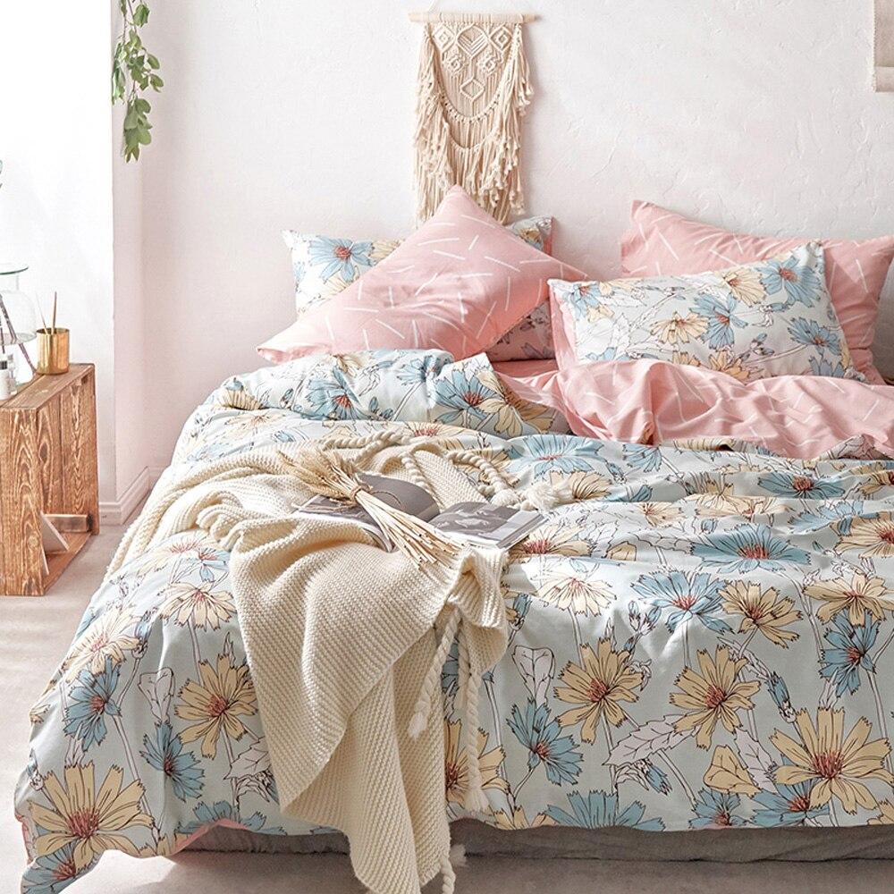 2018 Colorful Flowers Scandinavian Duvet Cover Set Twin Queen Size Flat Sheet Or Fitted Sheet Soft Cotton Bedlinens Pillowcases