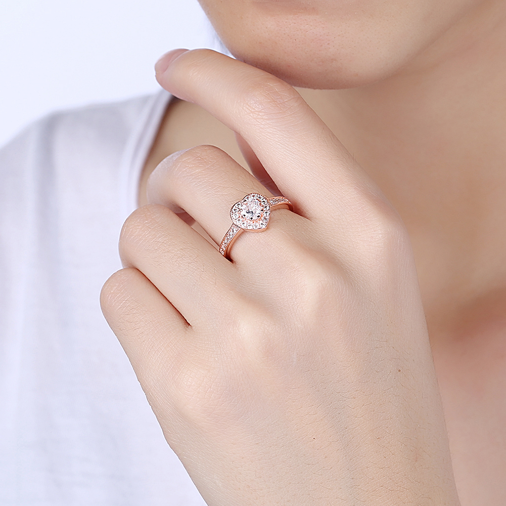 INALIS Heart Ring Fashion Inlaid Zircon Rose Gold Color Heart Flat ...