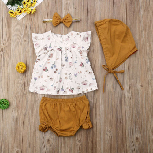 Fashion newborn toddler baby girls summer clothes cotton floral sleeveless clothes ruffle sleeve shorts hat headband 4pcs outfit 3e22