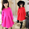 New Children's Clothing Girls Thick Princess Red Dress New Year Kids Clothing Red Rose Red Cotton