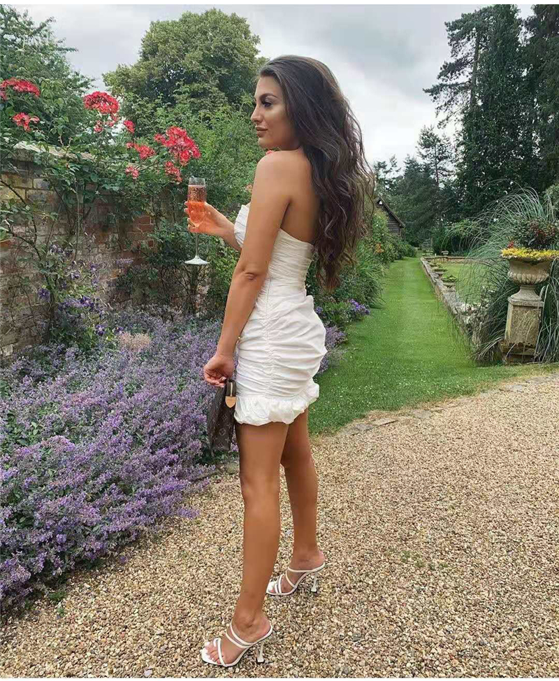 NewAsia Double Layers White Summer Dress 19 Women Strapless Ruched Bodycon Dress Elegant Club Sexy Party Dress Tight Dresses 31