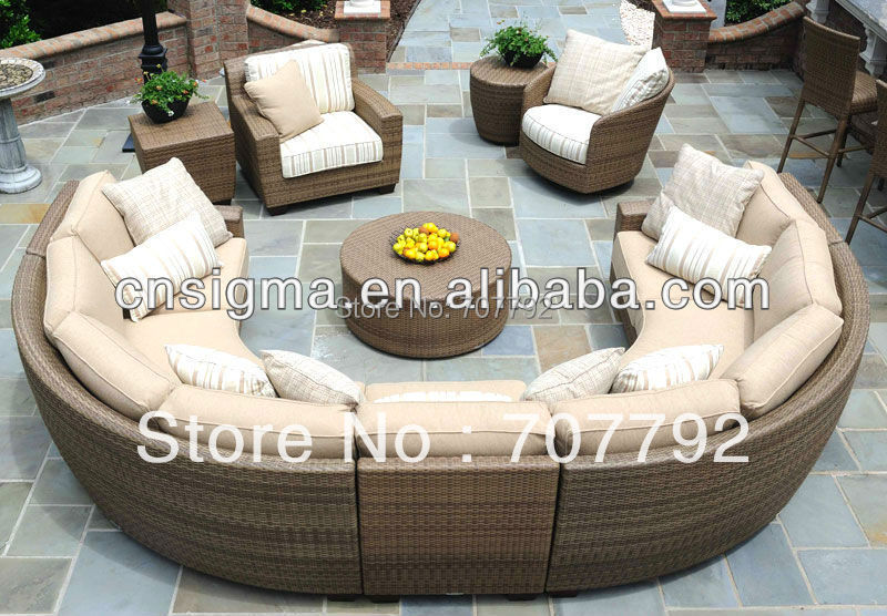 round design rattan sofa set in garden sets from furniture on alibaba group. Black Bedroom Furniture Sets. Home Design Ideas