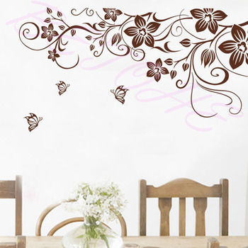 Brown flower vine DIY Vinyl Wall Stickers Home Decor Art Decals 3D Wallpaper Bedroom Sofa house decoration adesivo de parede 1