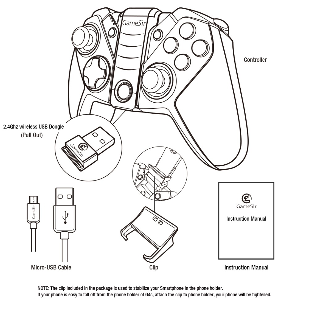 GameSir G4s Bluetooth Gamepad manette sans fil pour Android Téléphone/Android Tablet/Android TV/Sumsung Vitesse VR/Jouer station3 - 6