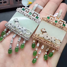 fine pendant 31.6*68m real 925 sterling silver certificated leopard siceraria shape white green jade for women